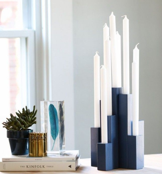 DIY this modern menorah for Hanukkah.