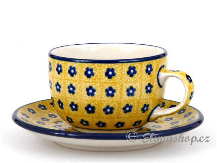 Cup with saucer 0,2 l (7 oz) - *** ELIMAshop.cz ***  Handmade Polish Pottery from Boleslawiec . Bunzlauer keramik . ceramics . stoneware . ELIMAshop.cz , shipping worlwide . Artystyczna .