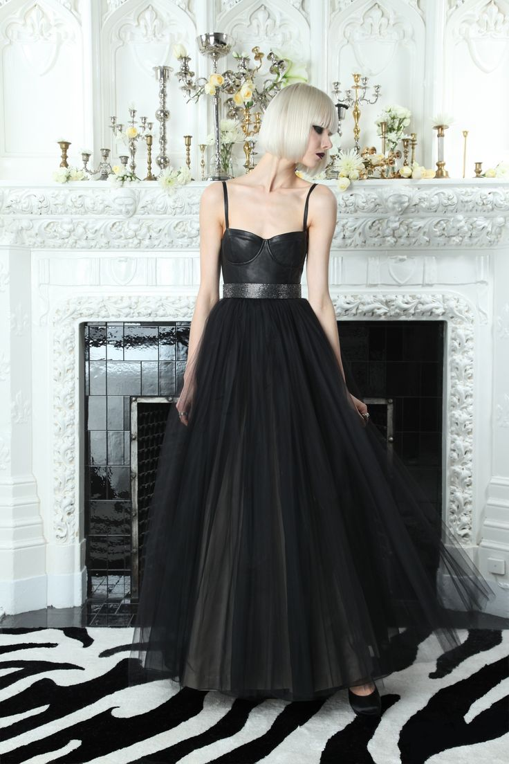 Ona Leather Bustier Gown Alice and Olivia by Stacey Bendet aminamichele.com amina michele