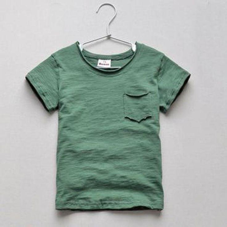 2-10 Tahun Musim Panas Serat Kapas Lengan Pendek T-shirt Anak Laki-laki Pakaian O-neck Anak T Shirt