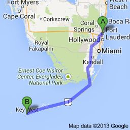 Fly into Ft Lauderdale or Miami. For an experience you have to do once in your life, drive to Key West. Rent a convertible. Stop along the way to see all the amazing sites. From Ft Lauderdale to Key West, the drive is 3 hours 37 minutes. From Miami, it's 3 hours 15 minutes. The seven mile bridge from Key Largo to Key West is said to be AMAZING!