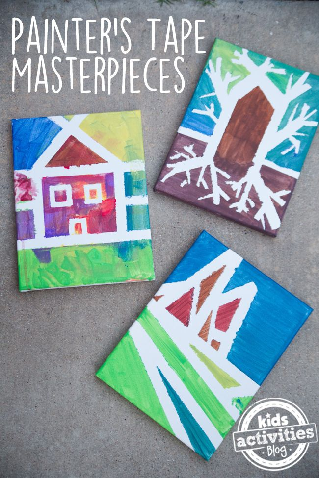 Preschoolers Painting Masterpieces with Painters Tape. So much fun with your little one! Click now!