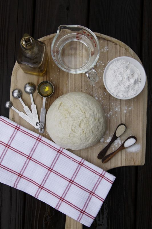 5 ingredient pizza dough  **Best pizza dough I have ever made and I have tried quite a few recipes.  It is totally worth it to wait the 30 min to let it rise too.  MY GO TO PIZZA DOUGH RECIPE :)
