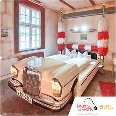 Unique Hotel Destinations #1: V8 Hotel in Germany for all the car lovers out there! All rooms and suites have quirky car themed rooms with distinctive touches like murals, car memorabilias and car inspired beds. #brainsatwork #brainsatworkhotels #brainsatworkvenues