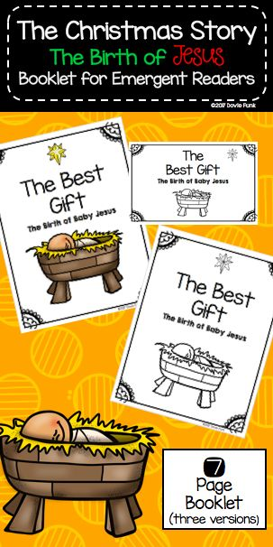 Birth of Baby Jesus Booklet for Emergent Readers - Sunday School Lesson for Christmas