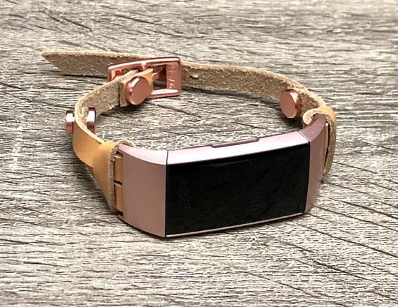 Rose Gold Fitbit Charge 3 Band Tan Color Leather Fitbit