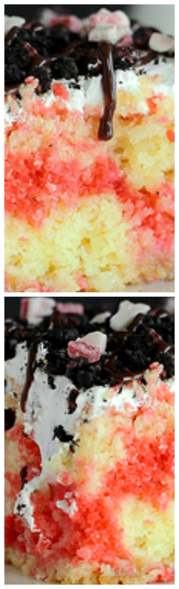 Candy Cane Poke Cake ~ Easy...  It's one batter with a bit of peppermint flavor, some sweetened condensed milk and topped with whipped cream and candy cane Oreos.