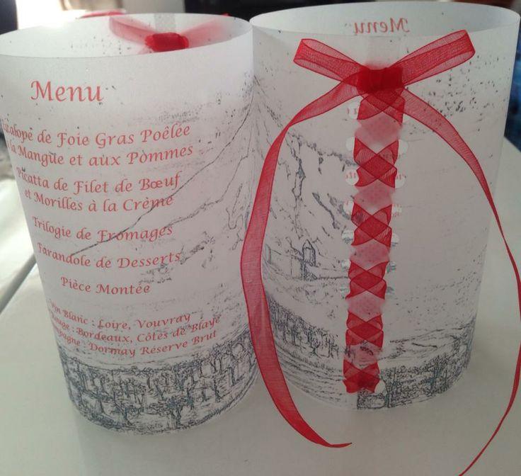 Menus photophores entièrement personnalisé, laçage façon corset en organdi rouge ... by Gaëlle Déco ( gaelledeco.free.fr )