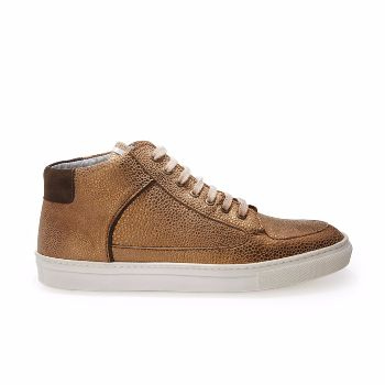 Rose Rankin Simmy Mid Top Sneakers: Simmy mid top trainer from cult sneaker designer Rose Rankin. Made from metallic bronze dot leather with khaki suede pull tab and side piping. Silver leather lines the inside and an iridescent tag loops the tongue.
