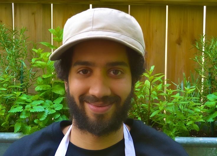 Chef Jordan in the herbs.