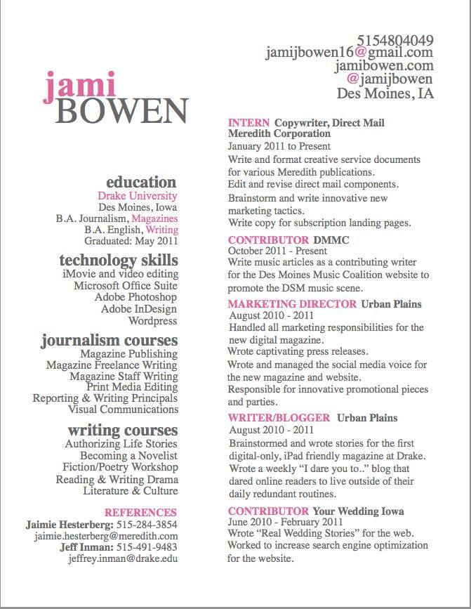 Journalism Resume 187 Best Business Images On Pinterest  Design Process Blog Tips