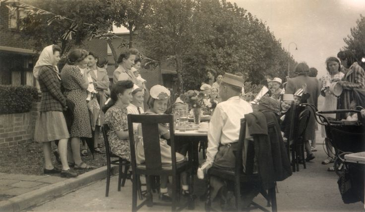 Bata Estate East Tilbury VJ Street Party celebrating end of WW2, residents of King George VI Avenue August 1945