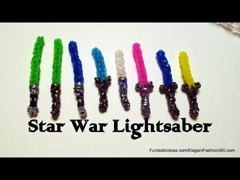 ▶ Star War Lightsaber Charm - How to Rainbow Loom - Action Figures Series - YouTube