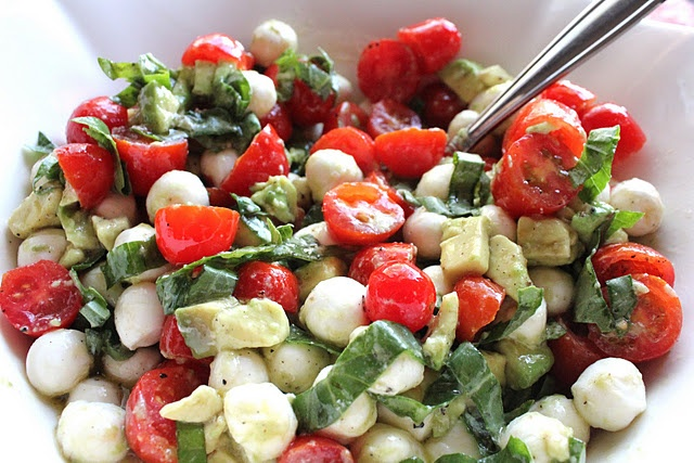 Mozzarella, Tomato + Avocado Salad: Avocado Salads, Fun Recipe, Food, Eating, Summer Salad, Cooking, Mozzarella, Savory Recipe, Tomatoes