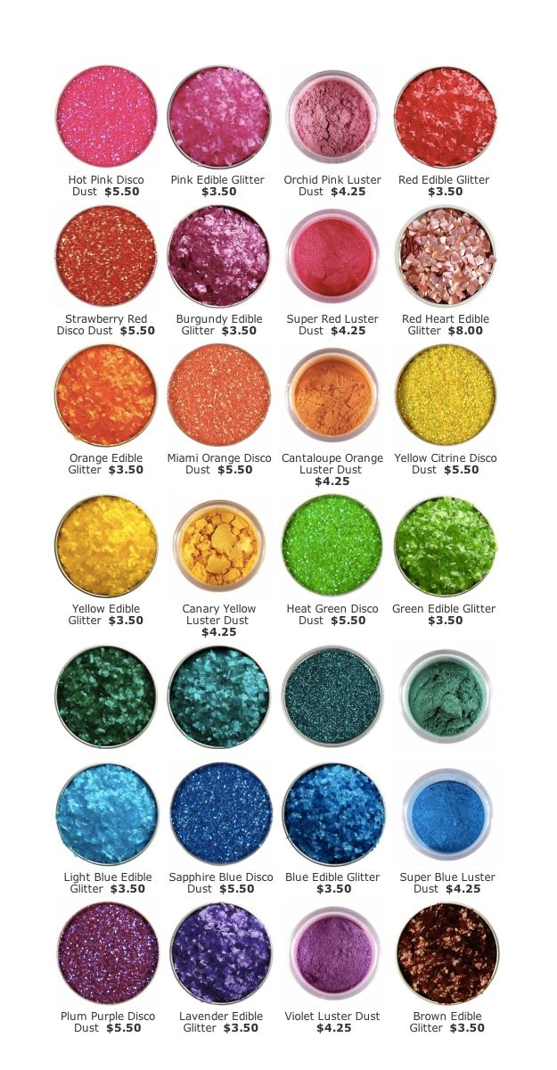 And if the homemade glitter sugar doesn't work I can always get some of these  Edible glitter, $3.50 - $5.50 each