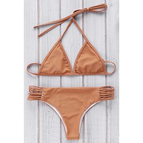 Brown Cami Bikini Set (825 SEK) ❤ liked on Polyvore featuring swimwear, bikinis, brown bikini, brown swimwear, bikini two piece, brown camisole and brown cami
