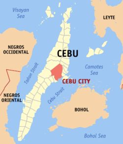 Cebu City Philippines, the island due west of  Bohol,  The VIsayan islands