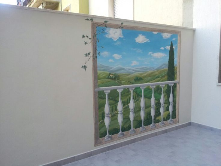 hand painted, wall with Toscana s panorama