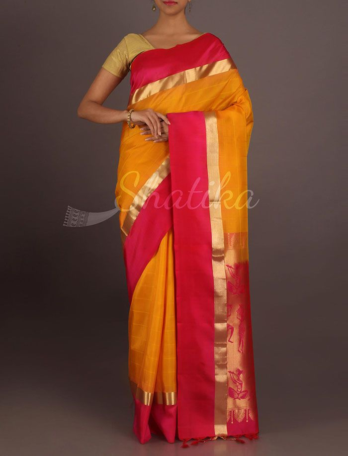 Vedika Yellow And Red Solid Thin Gold Border Pure #PattuSilkSaree