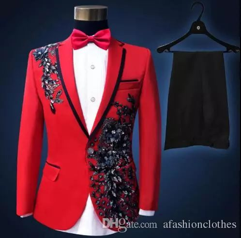 Sequins Formal Dress Latest Coat Pant Designs Suit Men Red Embroidered Trouser Marriage Wedding Suits for Men's Singer Dance Blazer Men Formal Dress Men Clothes Jacket 789 Marriage Wedding Suits for Men's Online with $124.58/Piece on Afashionclothes's Store | DHgate.com