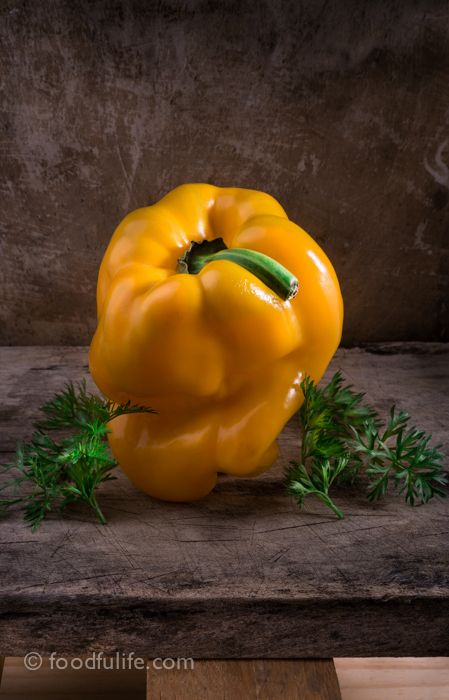 Bell pepper with carrot leaves