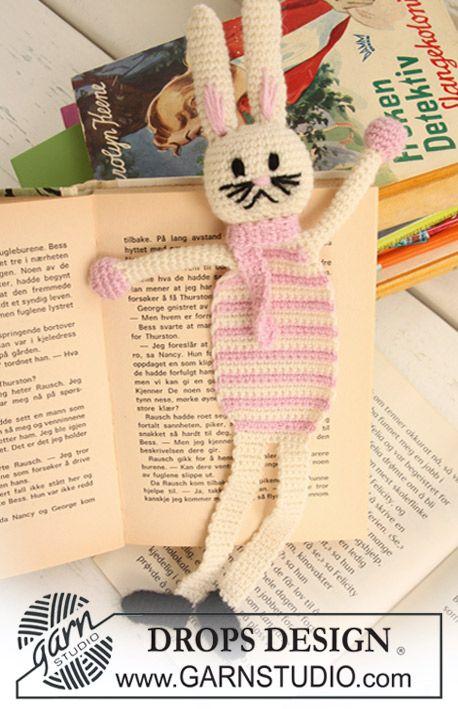 "Bella, the Book Bunny - Marque-page DROPS Lapin de Pâques au crochet en ""Alpaca"". - Free pattern by DROPS Design"