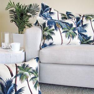 Palm trees tropical hawaiian beach 45x45 white blue green cushion pillow