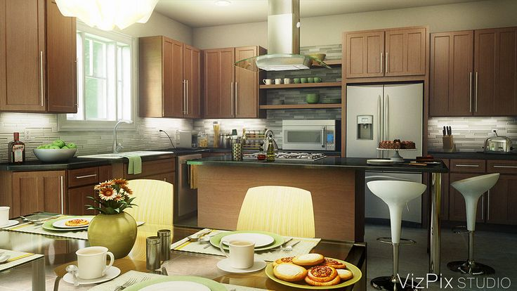 Modern kitchen rendered in 3ds Max using the Vray renderer.