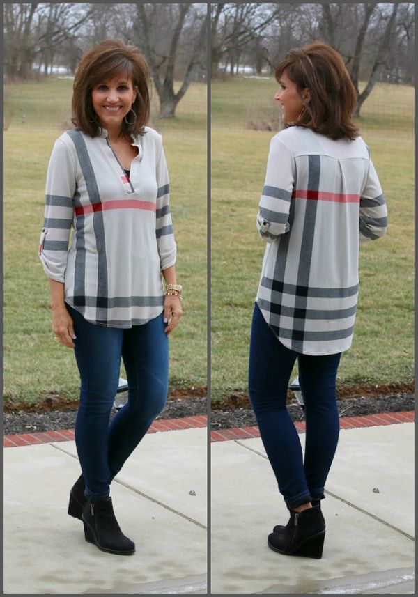 Style for over 35 ~ love flannel tunics and wedge booties