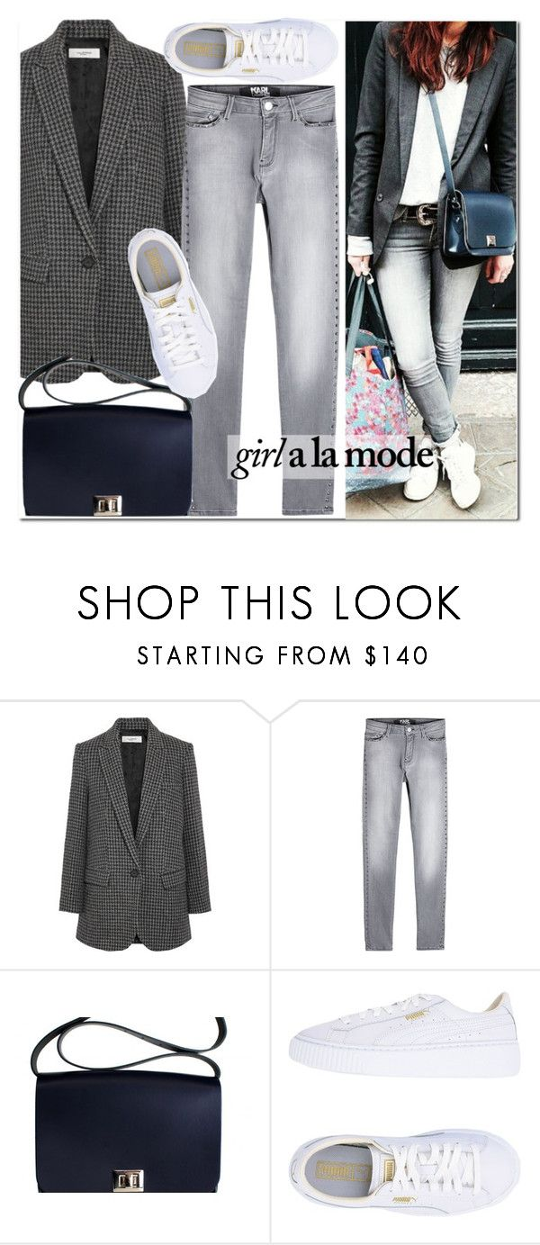 """Leathersatchel-Girl a la mode"" by leathersatchel ❤ liked on Polyvore featuring Karl Lagerfeld, Puma and Hannah Marshall"