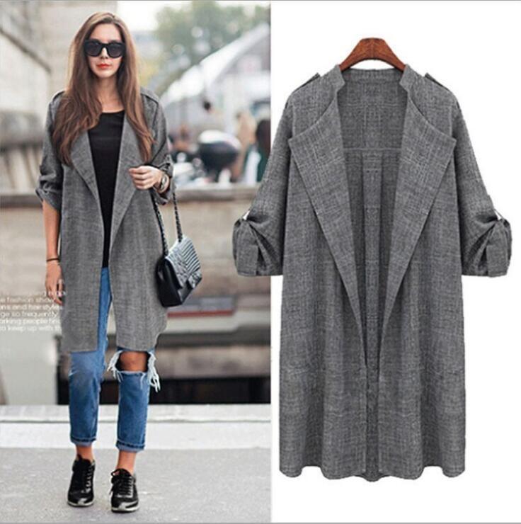 >> Click to Buy << Large Size 4XL 5XL Spring Autumn Trench Coat For Women 2016 Long Outwear Slim Women's Coats Open Stitch Windbreaker Women Coat #Affiliate
