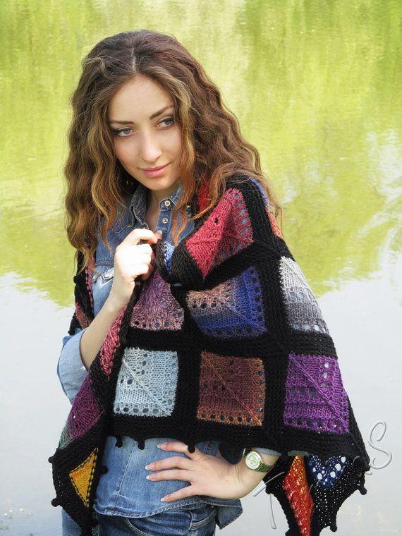 """Hand gebreide sjaal - omslagdoek wol - handgemaakte gebreide sjaal - wol gebreide sjaal - brei driehoekige omslagdoek - hand breien grote Bandana """"glas"""""""