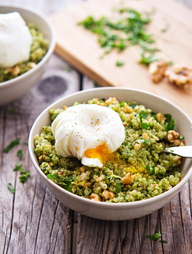 Quinoa Kale Pesto Bowls with Poached Eggs