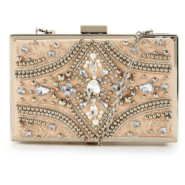 Forever Unique Forever Unique Jewel Embellished Hard Box Clutch found on Polyvore featuring bags, handbags, clutches, bolsas, hard clutch, embellished purse, embellished handbags, jewel purse and beige handbags