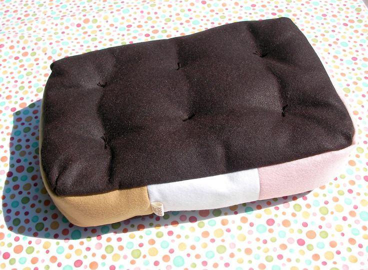 Neapolitan Ice Cream Sandwich Plush Food Pillow $19.99 at sunrisepancake.com