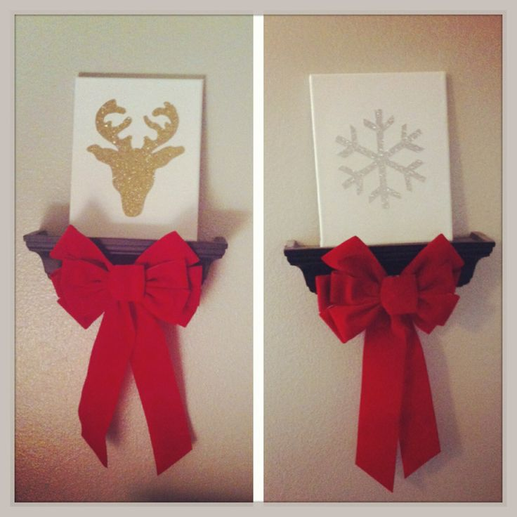 """Christmas & holiday canvas art. Cheap 8'10"""" canvas cut out reindeer head and snowflake from glitter scrapbook sheet and glued onto canvas. Very easy & very cheap. Will be adapting for other holidays"""