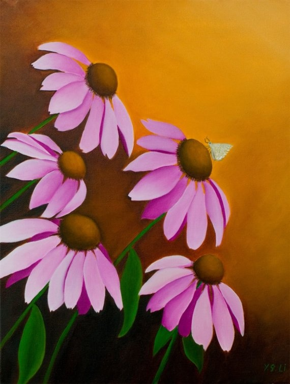 Pink Coneflowers and Butterfly by QiQiGallery on Etsy, $125.00