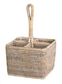 rattan Cutlery or condiment holder white wash - Lifestyle Home and Living