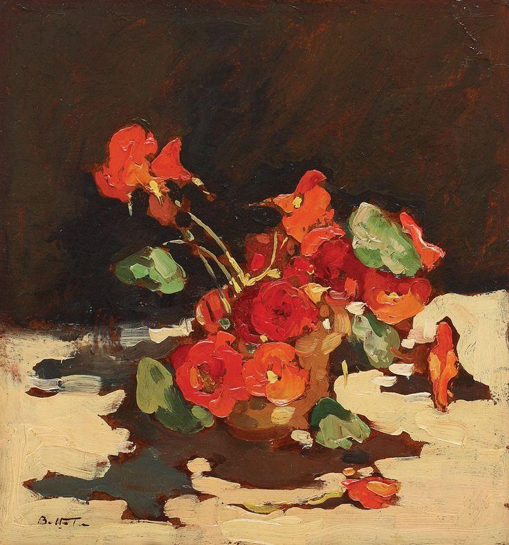 Adam Bălţatu (1899-1982), Cană cu mușcate; Ulei pe carton, 37x34,5 cm