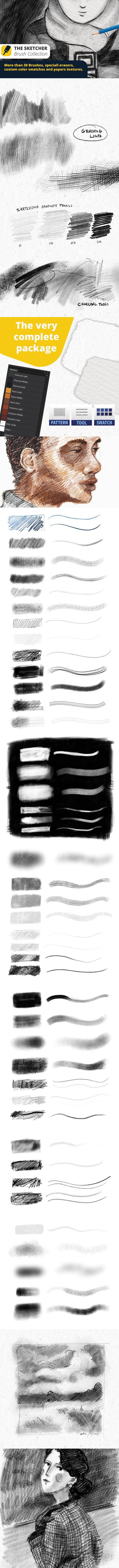 The Sketcher Collection Brushes. Photoshop Brushes. $9.00