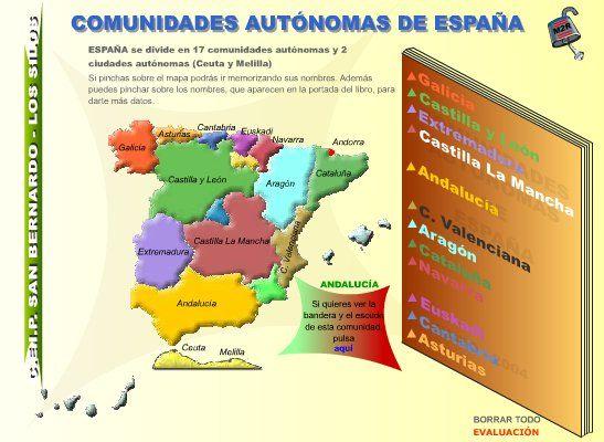 """La aplicación """"Comunidades Autónomas de España"""", de El Tanque, sirve para identificar en el mapa las Comunidades y Ciudades Autónomas Españolas, en un nivel inicial. Comprende dos pasos:    - Reconocimiento en el mapa de los nombres de Comunidades y Ciudades Autónomas.    - Evaluación de la identificación en el mapa de cada Comunidad o Ciudad Autónoma."""
