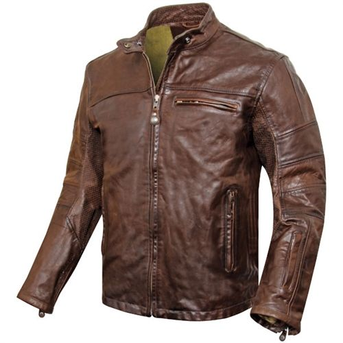 Roland Sands Ronin Tobacco Leather Jacket - £425 - Retro style cafe racer leather motorcycle jacket.
