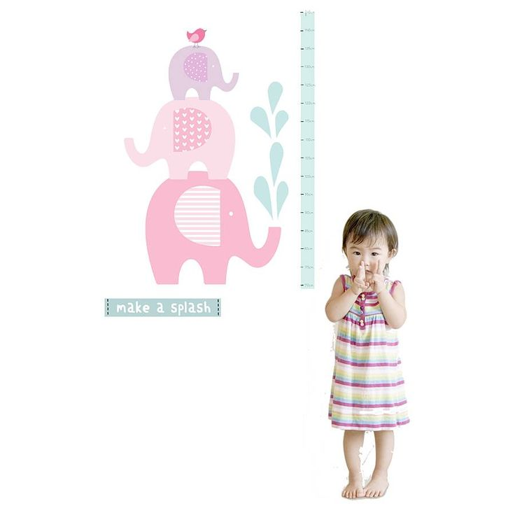 A stunning elephant height chart wall sticker by Littleprints.Colour options available: Pink elephants Green elephantsAdd a unique focal point to a child's room with this beautiful elephant height chart fabric wall sticker. Children will love marking the chart as they grown and seeing how tall they are growing. Produced from eco-friendly, PVC free material, the stickers are simple to use and leave no sticky residue or damage to walls. They are durable and can be repositioned many times. A…