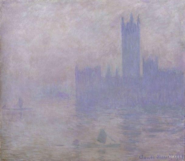 [프리즘의 발견] <런던의 웨스트민스터 탑과 의회당> - 클로드 모네:  모네는 런던을 방문할 당시 안개가 자욱한 날씨 특유의 분위기에 매료되었고, 이 도시를 주제로 작품을 제작하기로 결정하였다. 대표적인 작품이 바로 이 그림인데, 모네는 이외에도 런던 의회당에 대한 다수의 그림을 완성했다.