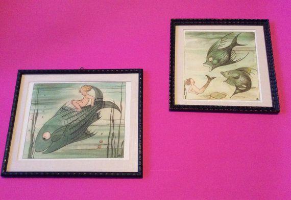 Kinderkamer kunst, twee vintage illustraties, ingelijst muur decoratie voor de baby
