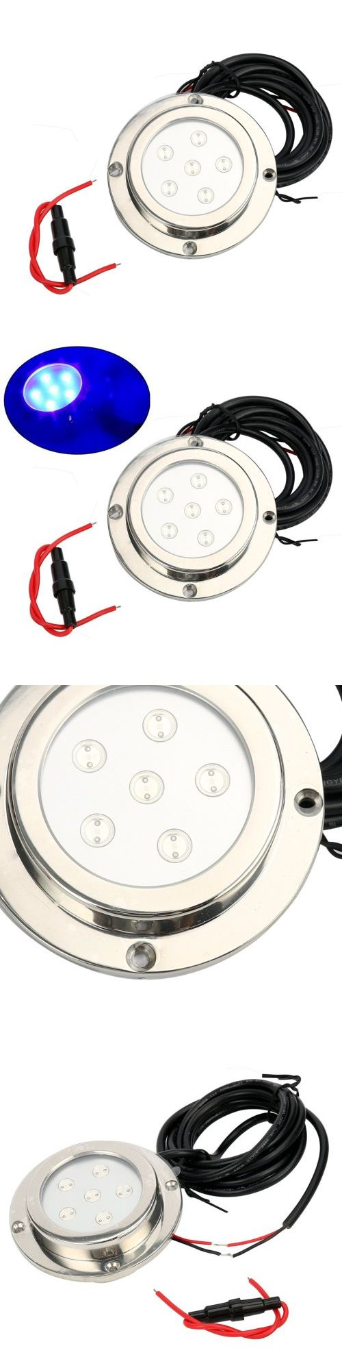 boat parts: 6*1W, Stainless Steel, Underwater Boat Marine Led Light Blue Colorus Free Ship BUY IT NOW ONLY: $55.49
