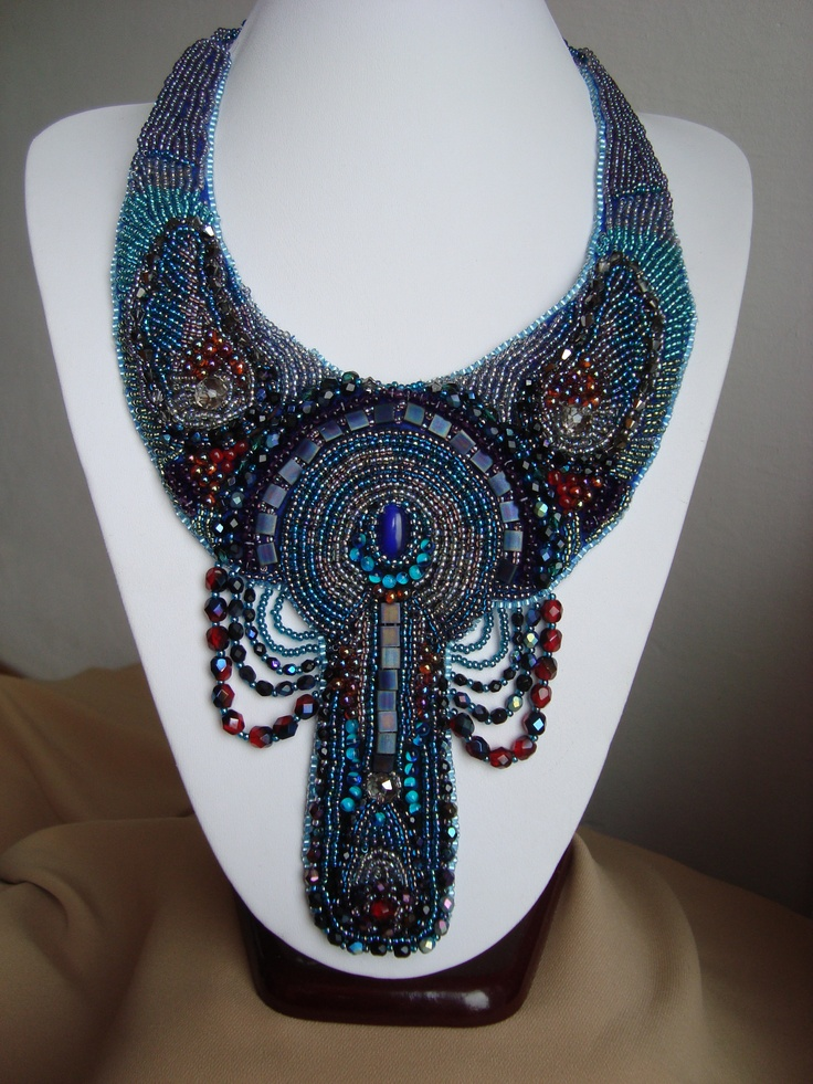 Adela Petcu_ Blue-winged_ Beads embroidered necklace with Delica beads and cristals, everything in blue and a little red