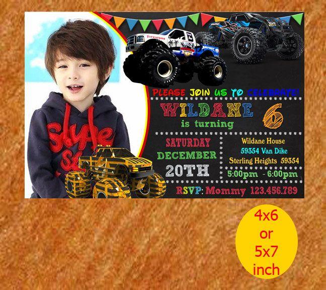 Monster Truck Birthday Invitation, Monster Truck Invitation, Monster Truck Birthday, Monster Truck Invite, Jpeg, Printable, Instant Download by MondaBirthdayArt on Etsy