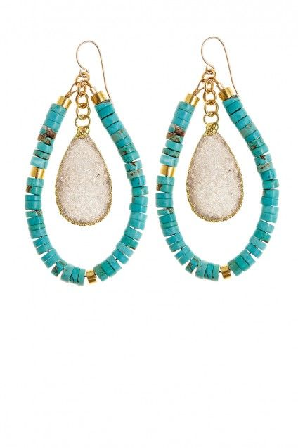 These bohemian chic Heishi Hoop Earrings will easily take you from day to night. Turquoise gemstone beads on 14K gold fill wire are illuminated by agate druzy drops. #islandstyle