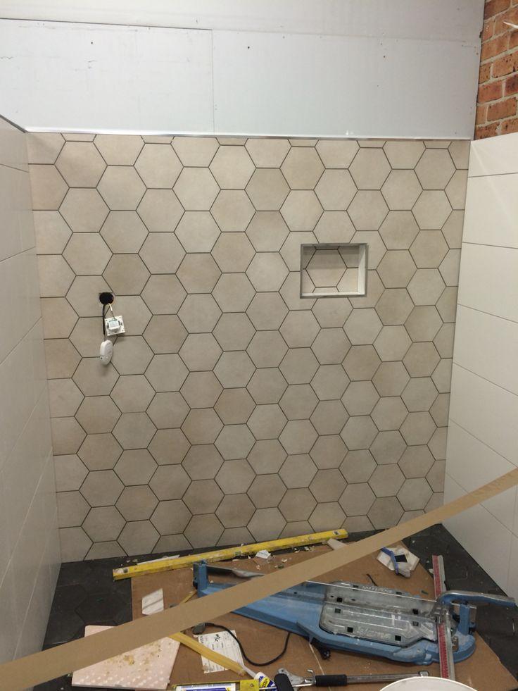 New display underway, hexagon Tiles, underfloor heating controlled through your iPhone. Pretty cool